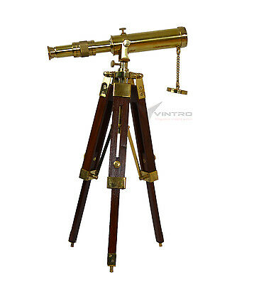 Vintage Nautical Brass Tripod Telescope  , Office Decor