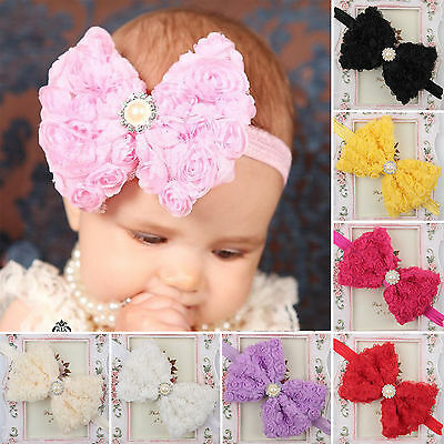 Baby Girls Rose Lace Floral Bowknot Soft Elastic Hair Band Accessories Hairband
