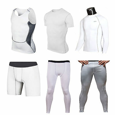 Mens Compression White Base Layer Breathable Stretch Top T-shirt Pants Sportwear