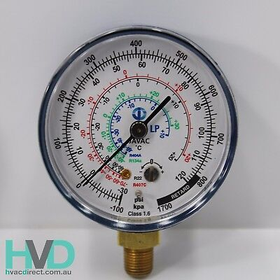 Refrigeration Gauge – R134a/22/404 - Blue Low Side Compound Gauge 62mm – JV54231