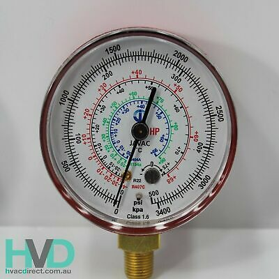 Refrigeration Gauge – R134a/22/404 - Red High Side Compound Gauge 62mm – JV54236