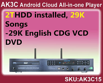 Android Cloud All-in-one Karaoke Player,2TB, 29K English CDG,VCD, DVD songs