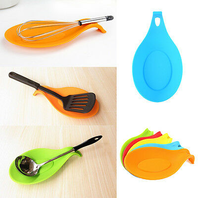 Silicone Heat Resistant Spoon Mat Pad Spatula Holder Eggbeater Kitchen Gadget