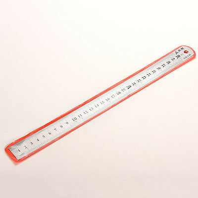 30cm Stainless Metal Ruler Metric Rule Precision Double Sided Measuring Tool MO