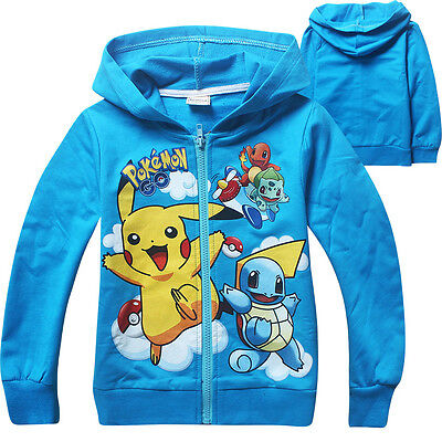 Spring Fall Kids Boys Gilrs Pokemon Pikachu Jay Turtle Sweatshirt Hoodies Jacket