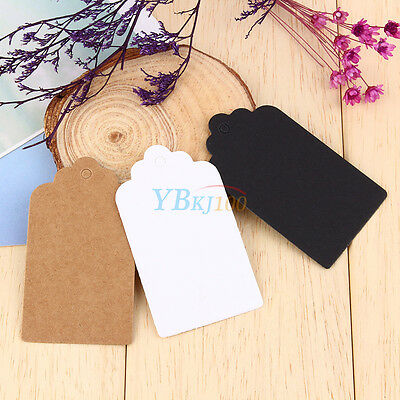 100pcs 7x4cm Kraft Paper Gift Tags Wedding Scallop Label Blank Luggage