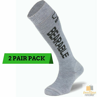 2 Pairs BRBL Vancouver SKI SOCKS Merino Wool Blend Soft Skiing Thermal Snow GREY