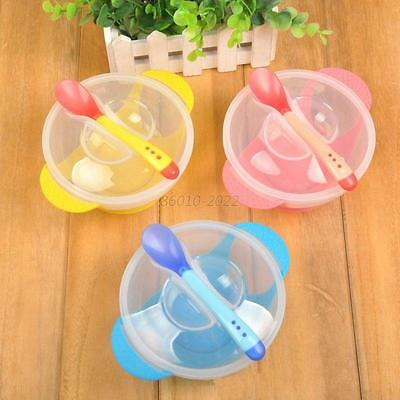 Toddler Lid Training Bowl with Spoon Baby Feeding Tableware Plate Sucker Bowl
