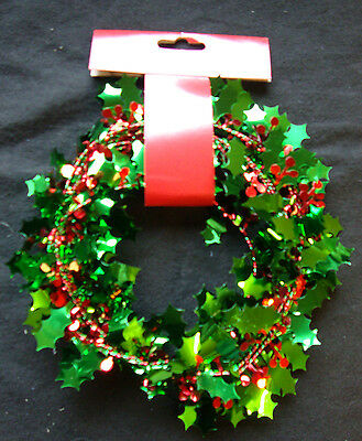 Christmas Party Holly Wire Garland Decoration with Red Berries - Twist into shap
