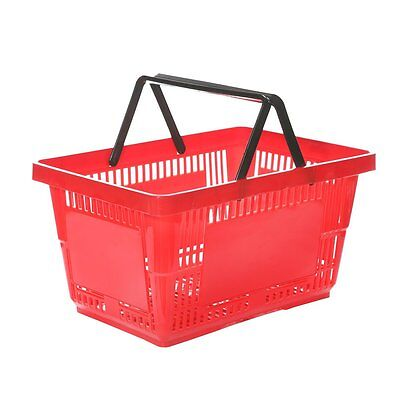 Plastic Shopping Basket - 27L with Black Handles - Red, Blue or Green