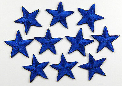 "Blue star patches > pack of 10 > embroidered > iron-on > 1"" (25mm) hand finished"