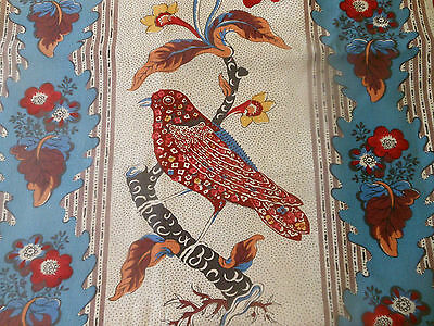 Vintage Floral Bird French Furnishings Fabric ~ Blue Red ~ Pierre Frey