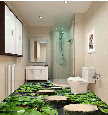 Lilypad Pond Stone Stage Fish Floor Decals 3D Wallpaper Wall Mural Sticker