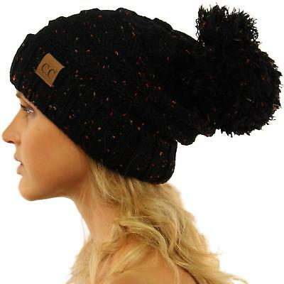 CC Confetti Super Big Slouchy Pom Pom Warm Chunky Stretchy Knit Beanie Hat