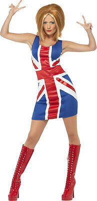 Costume Adulte Femme Icone Annees 90 Spice G. Robe Union Jack Taille M et L Adu