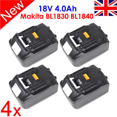 4 X 18V 4.0Ah Lithium Ion Battery BL1830 BL1840 LXT For Makita Replace New