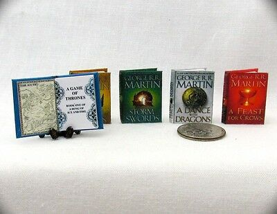 Miniature Books GAME OF THRONES (5) 1:12 Doll Scale Books A SONG OF ICE AND FIRE