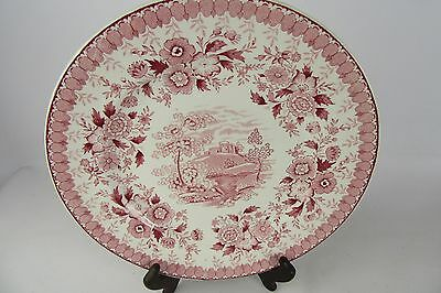 """Vintage Aimcee Woodland Made in England Transfer Ware Dinner Plate 10"""" Red Pink"""