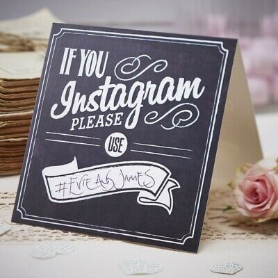 Vintage Chalkboard Wedding Sign - If You Instagram please use - Ginger Ray