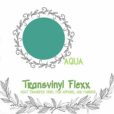 "Heat Transfer Vinyl for T-Shirts #1 HTV -15"" PU Aqua-Teal  Sticky Carrier"