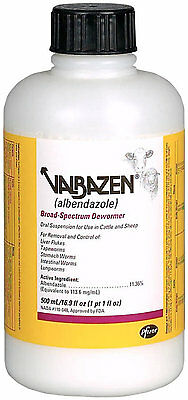 Valbazen Suspension 500ml Cattle Sheep Dewormer Oral Albendazole