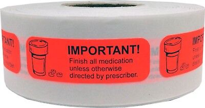 Important Finish All Medication Stickers, 0.5 x 1.5 Inches Wide, 500 Labels
