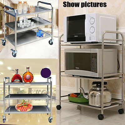 3 Tier Catering Serving Trolley Hostess Food Restaurant Cart Dining Trolleys Uk