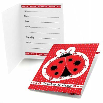 Modern Ladybug - Fill-In Baby Shower or Birthday Party Invitations (8 count)
