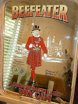 Vintage Beefeater London Gin Mirrored Serving Tray / Wall Hanging Advertisement