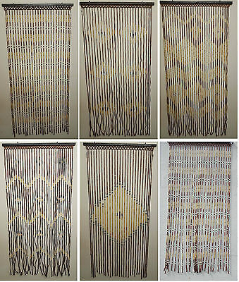 Wooden Bamboo Beaded Fly Screen Door Curtain 90 x180cm Qulaity Product cheap New