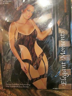 Elegant Moments Opaque With Printed On Lace Bustier Bodystocking 1 Size