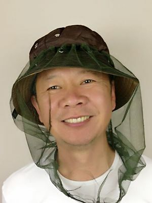 43x34cm Headnet Hat Fly Mosquito Head Net Camping Farm Fruit Picking