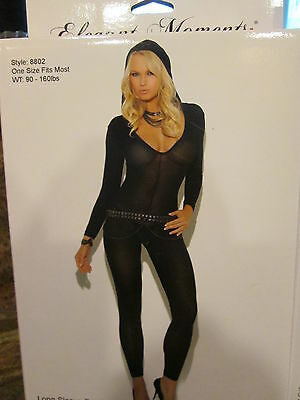 Elegant Moments Long Sleeve Bodystocking Hooded Opaque Black One Size