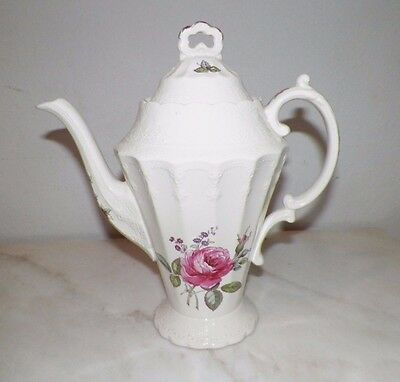 """Spode England Billingsley Rose Coffee Pot 10 1/2"""" Tall  Pink Roses Very Nice"""
