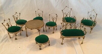 Vintage Tin Can Victorian Style DOLL FURNITURE Settee 4 Chairs TABLE Stool 2 ARM