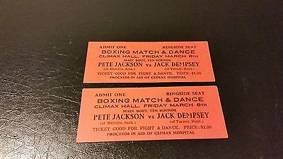 Jack Dempsey Vs Pete Jackson Pair Of Fight Tickets In Climax Saskatchewan