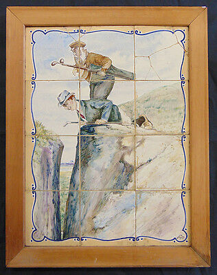Golfing Tiles Looking For the Ball 12 Delft Tiles (Plateelbakkerij Delft) c 1910