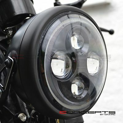 """7.7"""" Quality Motorcycle Quad Projector LED Matte Black Headlight + White Halo"""