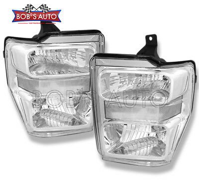 2008-2010 Ford SuperDuty F250 F350 F450 Euro Clear Factory Style Headlights Pair