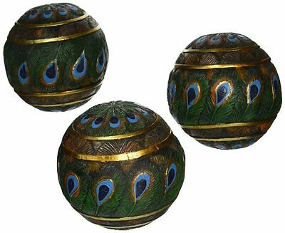 Design Toscano Peacock Feathered Orbs Decorative Accent Balls (Set of 3)