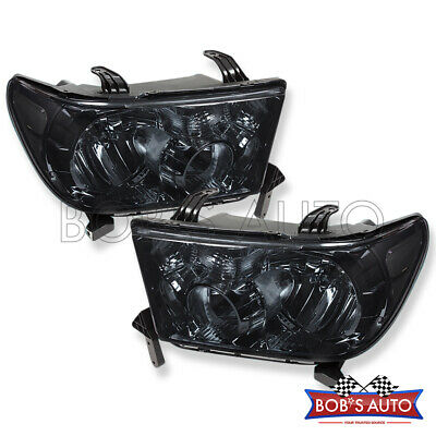 2007-2013 Toyota Tundra Sequoia Smoked Tinted Lens Factory Style Headlights Pair