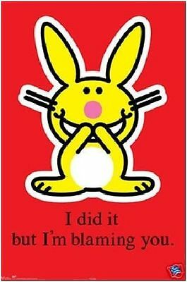 Jim Benton Its Happy Bunny I Did It But Blaming You Poster New 22X34 Free Ship