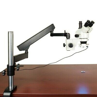 7X-45X Zoom Trinocular Microscope+Articulating Arm Stand+Bright 54LED Ring Light