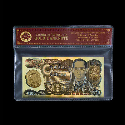 1996 Colored Thailand 50 Baht Golden Jubilee 50 Year Reign Polymer Gold Banknote