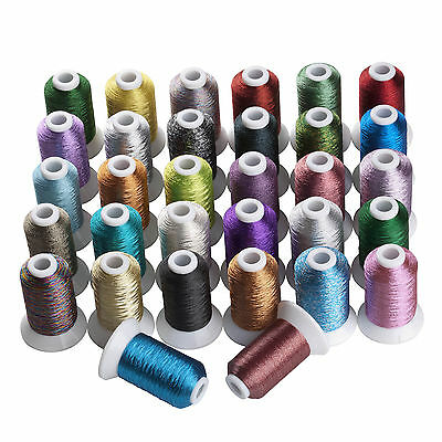SIMTHREAD Metallic Embroidery Home Machine Thread - 32 Different Colors, 500M/pc