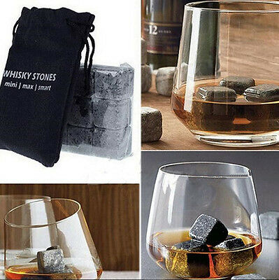 9pcs Rocks Granite & Pouch Scotch Drinks Whisky Cooler Cubes Ice Whiskey Stones
