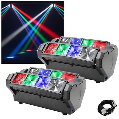 Equinox Onyx Compact LED Beam Effect DJ Disco Light Fixture (Pair) and DMX Cable