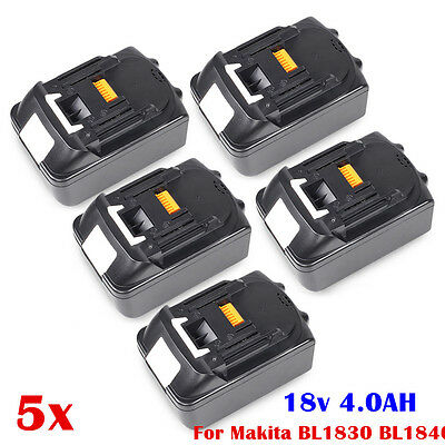 5 X 18V 4.0Ah Lithium Li-Ion LXT Battery FOR Makita UK Replacement BL1840 BL1830