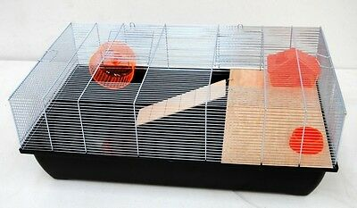 Mouse cage Hamster cage Rodent cage 78x47x30cm black with accessories