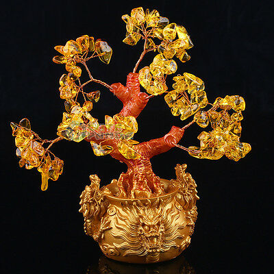 New Feng Shui Citrine Lucky Tree Yellow Crytal in Chinese Dragon Pot Size S
